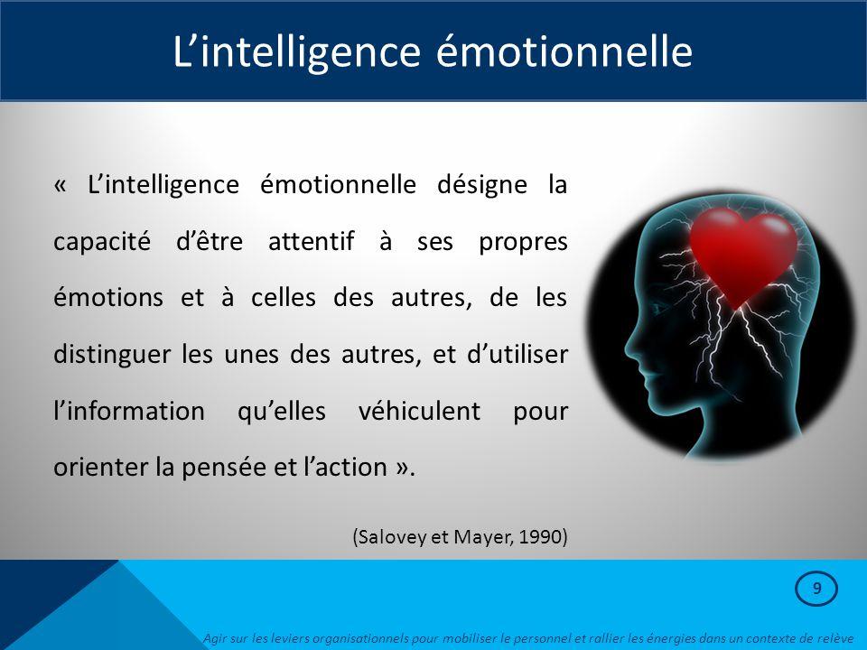 9 L'intelligence émotionnelle « L'intelligence émotionnelle désigne la capacité d'être attentif à ses propres émotions et à celles des autres, de les