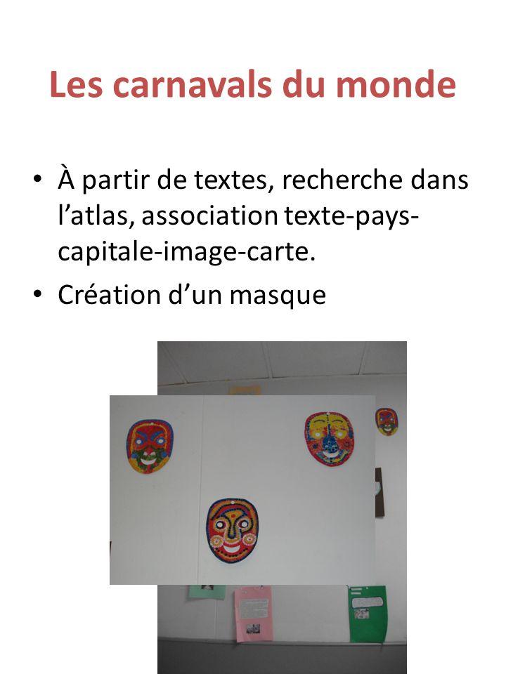 Les carnavals du monde À partir de textes, recherche dans l'atlas, association texte-pays- capitale-image-carte. Création d'un masque
