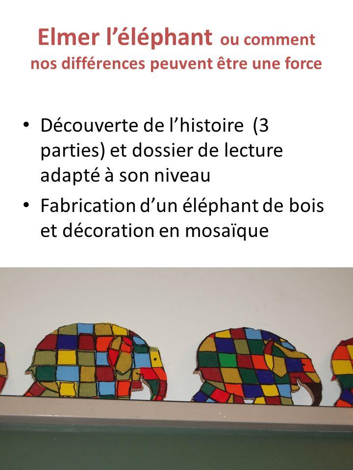 Elmer l'éléphant ou comment nos différences peuvent être une force Découverte de l'histoire (3 parties) et dossier de lecture adapté à son niveau Fabrication d'un éléphant de bois et décoration en mosaïque
