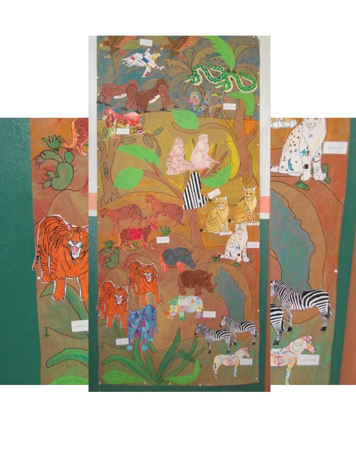 Création d'un paysage de la savane Réfléxion sur soi-même « ma différence peut être un atout » Choix d'un animal de la savane, création d'une famille (deux « normaux » un « colorier à la manière de « )