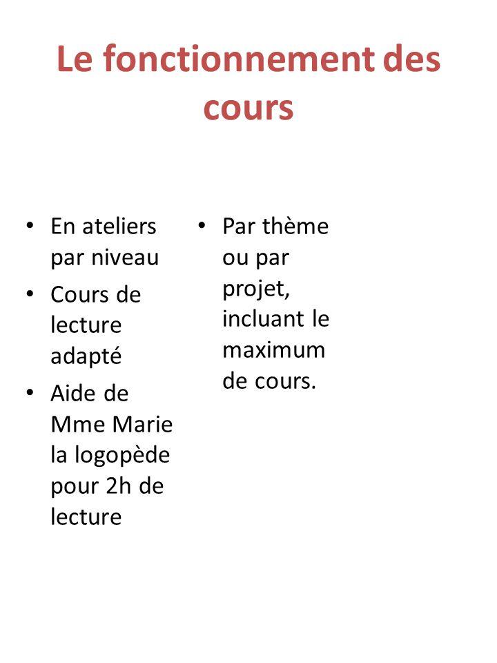 Le fonctionnement des cours En ateliers par niveau Cours de lecture adapté Aide de Mme Marie la logopède pour 2h de lecture Par thème ou par projet, incluant le maximum de cours.
