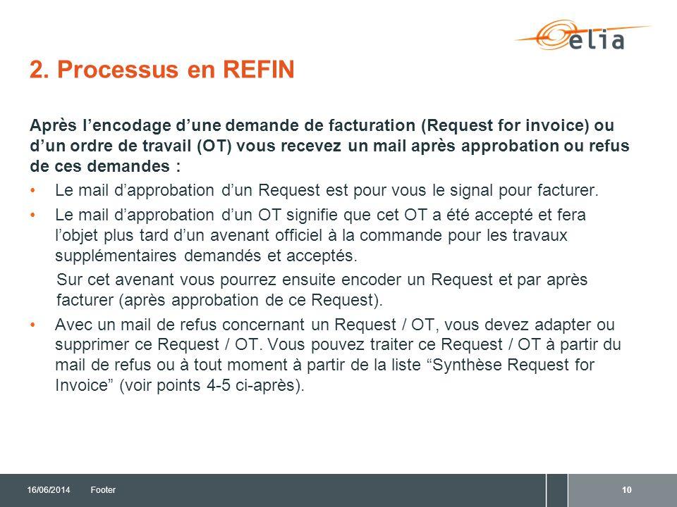 16/06/2014Footer 3. Création de Requests et Ordres de travail (OT's) en REFIN
