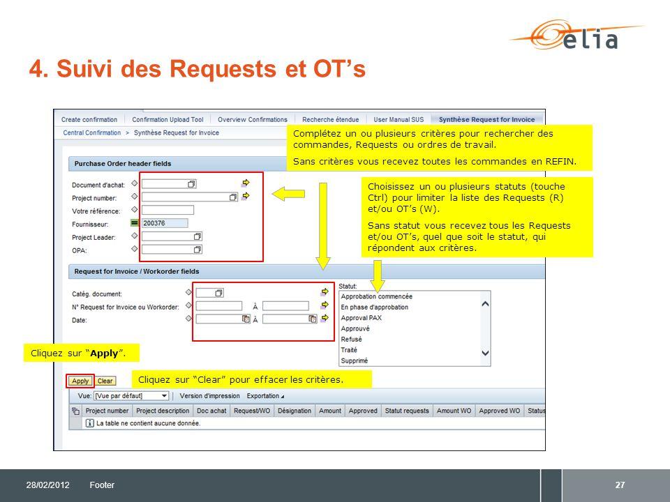 4. Suivi des Requests et OT's 28/02/2012Footer28 Exporter vers Excel