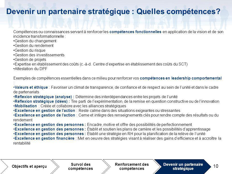10 Devenir un partenaire stratégique : Quelles compétences.
