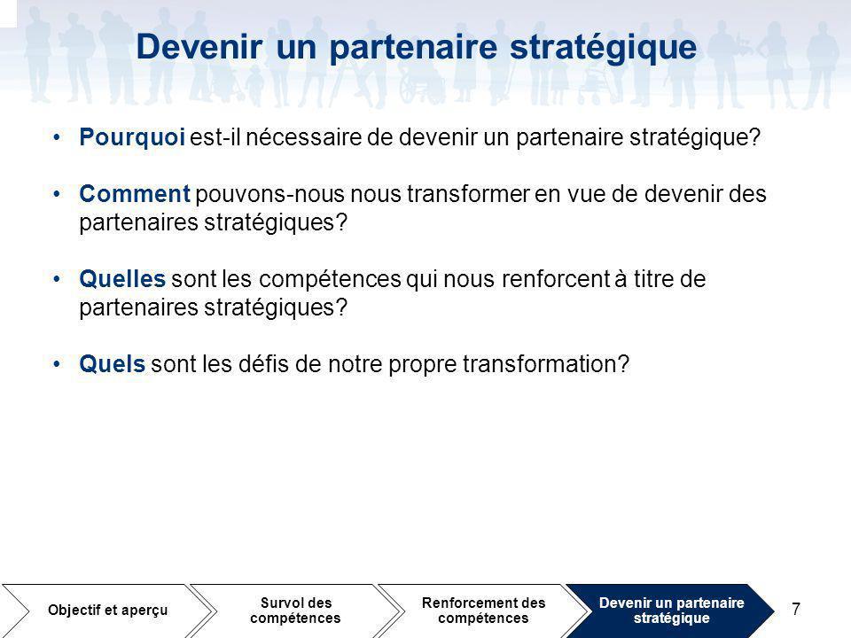 7 Devenir un partenaire stratégique Pourquoi est-il nécessaire de devenir un partenaire stratégique.