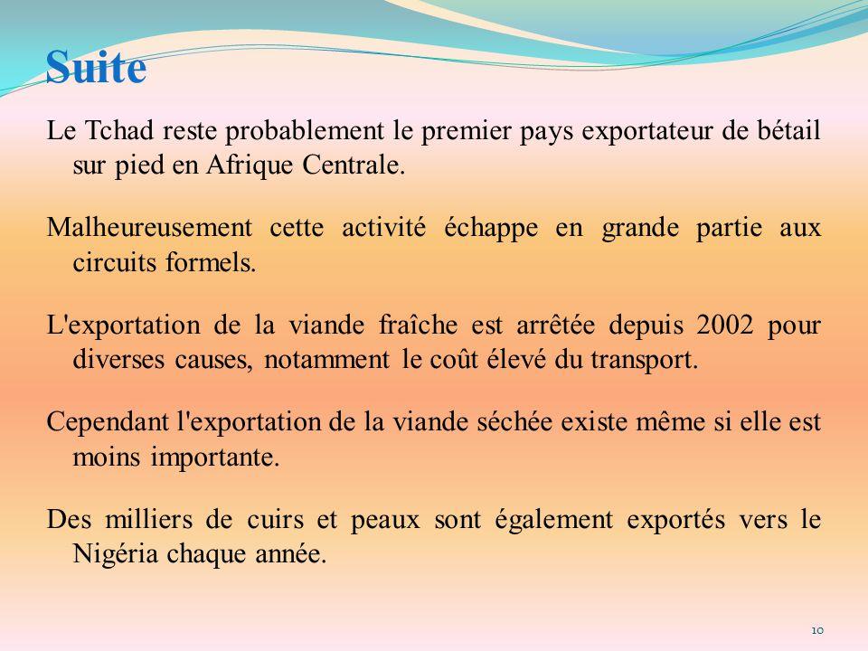 Suite Le Tchad reste probablement le premier pays exportateur de bétail sur pied en Afrique Centrale. Malheureusement cette activité échappe en grande