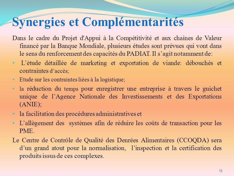 Synergies et Complémentarités Dans le cadre du Projet d'Appui à la Compétitivité et aux chaines de Valeur financé par la Banque Mondiale, plusieurs ét