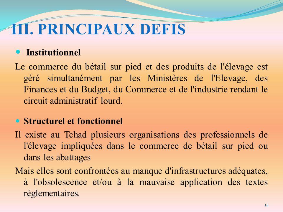 III. PRINCIPAUX DEFIS Institutionnel Le commerce du bétail sur pied et des produits de l'élevage est géré simultanément par les Ministères de l'Elevag