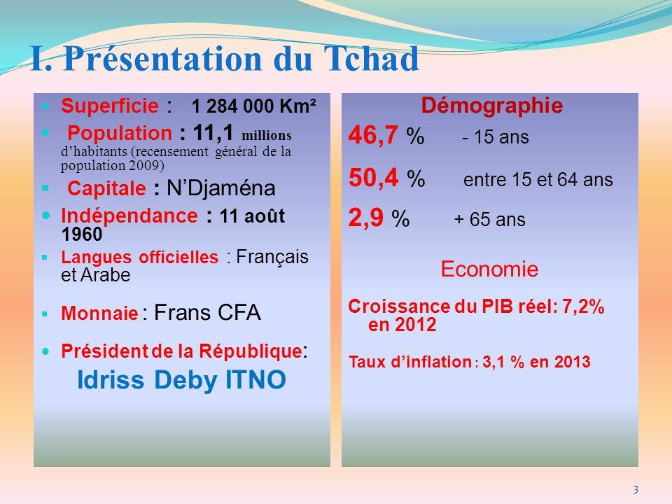 I. Présentation du Tchad  Superficie : 1 284 000 Km²  Population : 11,1 millions d'habitants (recensement général de la population 2009)  Capitale