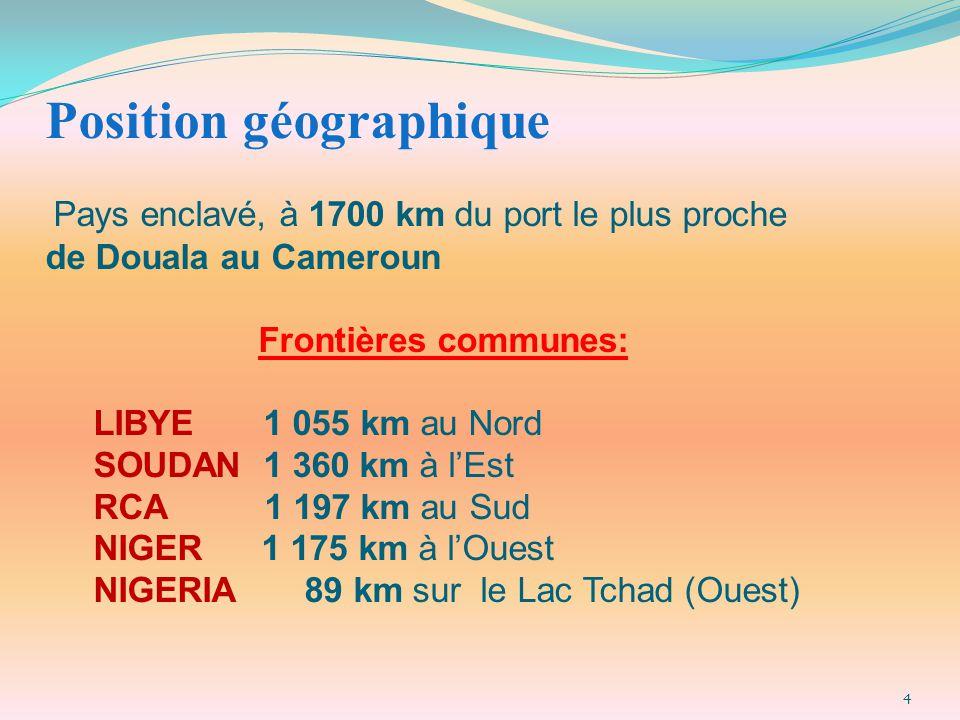 Position géographique Pays enclavé, à 1700 km du port le plus proche de Douala au Cameroun Frontières communes: LIBYE 1 055 km au Nord SOUDAN 1 360 km