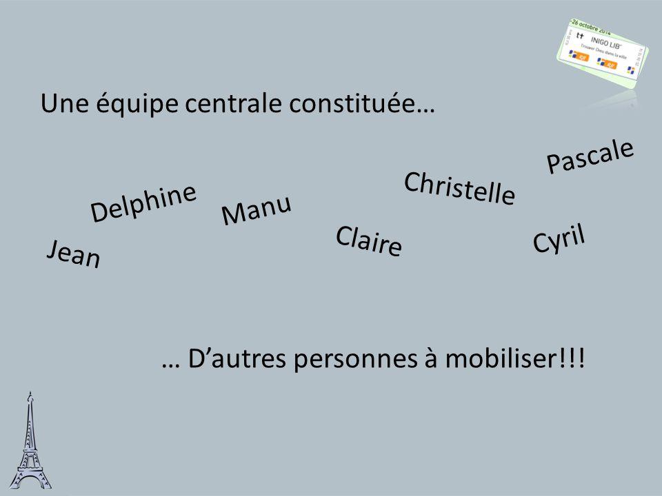 Une équipe centrale constituée… Delphine Jean Manu Claire … D'autres personnes à mobiliser!!! Christelle Cyril Pascale