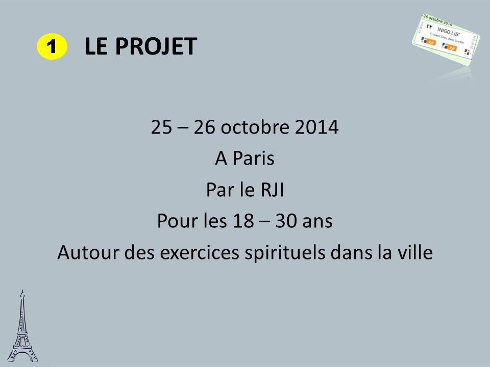 LE PROJET 25 – 26 octobre 2014 A Paris Par le RJI Pour les 18 – 30 ans Autour des exercices spirituels dans la ville 1