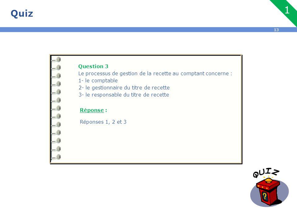 13 Quiz Question 3 Le processus de gestion de la recette au comptant concerne : 1- le comptable 2- le gestionnaire du titre de recette 3- le responsab