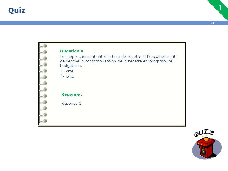 14 Quiz Question 4 Le rapprochement entre le titre de recette et l'encaissement déclenche la comptabilisation de la recette en comptabilité budgétaire