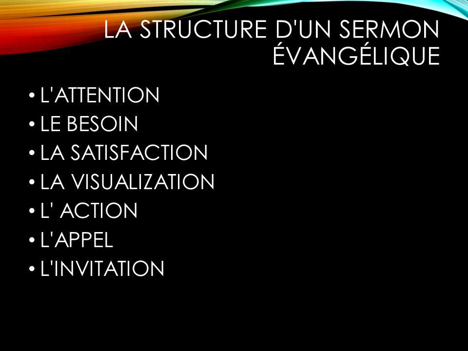 LA STRUCTURE D'UN SERMON ÉVANGÉLIQUE L'ATTENTION LE BESOIN LA SATISFACTION LA VISUALIZATION L' ACTION L'APPEL L'INVITATION