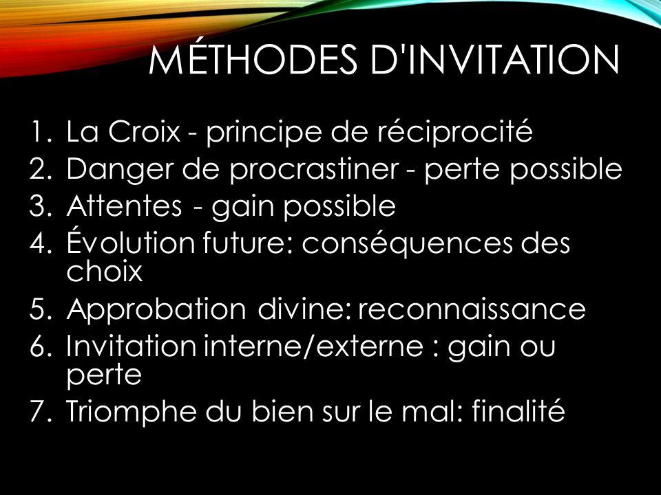 MÉTHODES D'INVITATION 1.La Croix - principe de réciprocité 2.Danger de procrastiner - perte possible 3.Attentes - gain possible 4.Évolution future: co