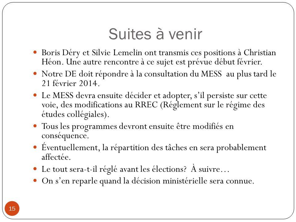 Suites à venir 15 Boris Déry et Silvie Lemelin ont transmis ces positions à Christian Héon. Une autre rencontre à ce sujet est prévue début février. N