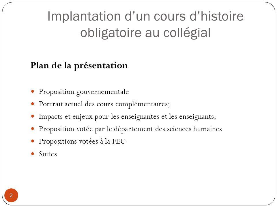 Propositions de la FEC (sous réserve de validation finale et de révision linguistique) 13 Sur la suppression d'un cours de la formation générale complémentaire Considérant que la FEC-CSQ est favorable à l'implantation d'un cours d'histoire du Québec au collégial (Conseil général de la CSQ, octobre 2012); Considérant que la FEC-CSQ s'oppose à la suppression d'un cours complémentaire (Congrès de la FEC, juin 2013); Considérant que le gouvernement du Québec semble se diriger vers la suppression d'un cours de la formation générale complémentaire (FGC) pour implanter à coût zéro le nouveau cours d'histoire du Québec contemporain; Considérant que la disparition d'un cours de la FGC affaiblirait la formation collégiale en privant les étudiantes et les étudiants d'un « […] dernier contact en profondeur avec les autres ordres de connaissances (Rapport Parent, tome 2, 1964) »; Considérant que le Rapport Parent recommandait qu'un tiers du programme de chaque étudiante et étudiant soit consacré à des cours complémentaires ou connexes (Rapport Parent, tome 2, 1964); Considérant qu'une telle modification aurait des impacts négatifs sur l'emploi et la tâche de plusieurs enseignantes et enseignants.