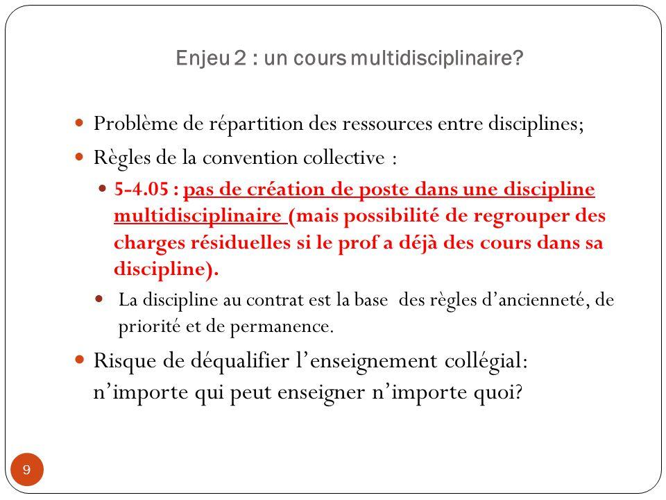 Enjeu 2 : un cours multidisciplinaire? 9 Problème de répartition des ressources entre disciplines; Règles de la convention collective : 5-4.05 : pas d