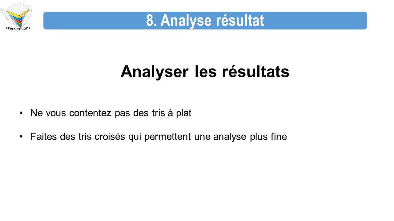 8. Analyse résultat Analyser les résultats Ne vous contentez pas des tris à plat Faites des tris croisés qui permettent une analyse plus fine