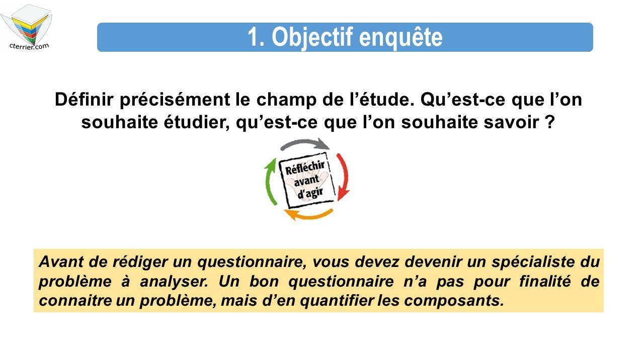 1. Objectif enquête Définir précisément le champ de l'étude. Qu'est-ce que l'on souhaite étudier, qu'est-ce que l'on souhaite savoir ? Avant de rédige