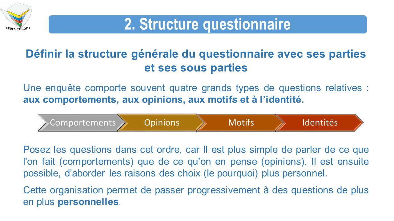 2. Structure questionnaire Définir la structure générale du questionnaire avec ses parties et ses sous parties Une enquête comporte souvent quatre gra