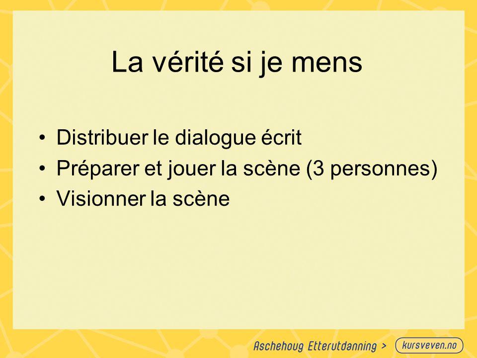 La vérité si je mens Distribuer le dialogue écrit Préparer et jouer la scène (3 personnes) Visionner la scène