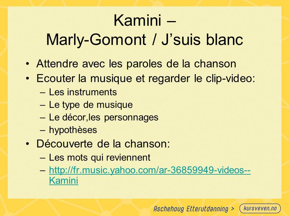 Kamini – Marly-Gomont / J'suis blanc Attendre avec les paroles de la chanson Ecouter la musique et regarder le clip-video: –Les instruments –Le type d