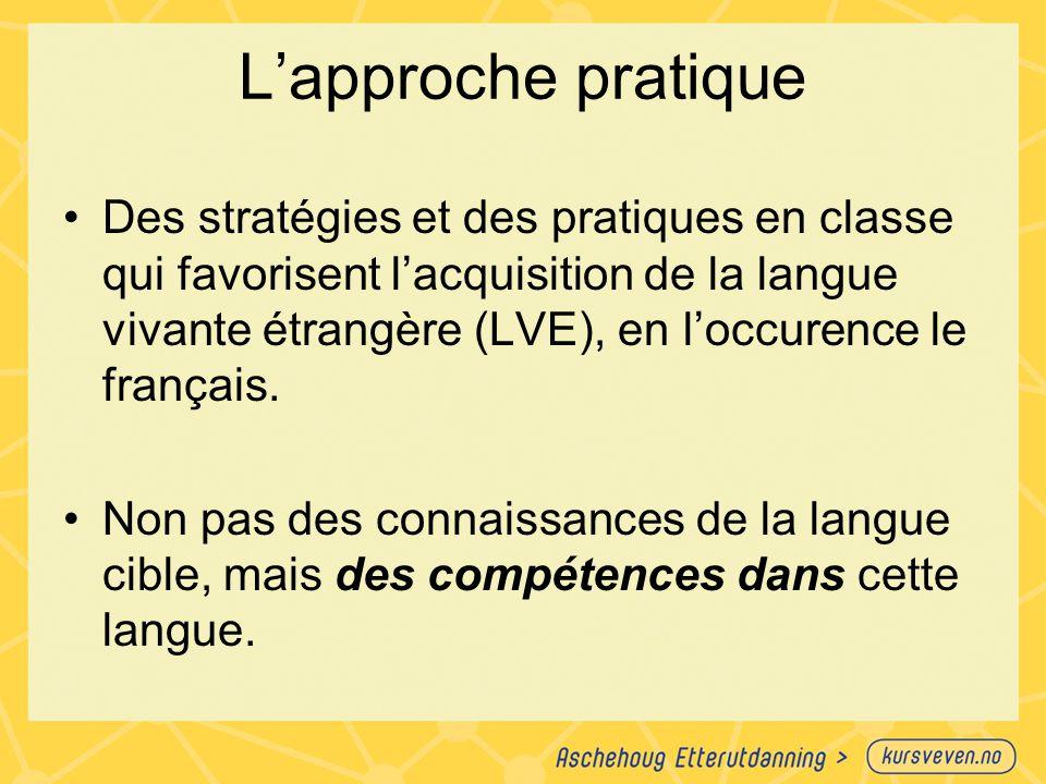 L'approche pratique Des stratégies et des pratiques en classe qui favorisent l'acquisition de la langue vivante étrangère (LVE), en l'occurence le fra