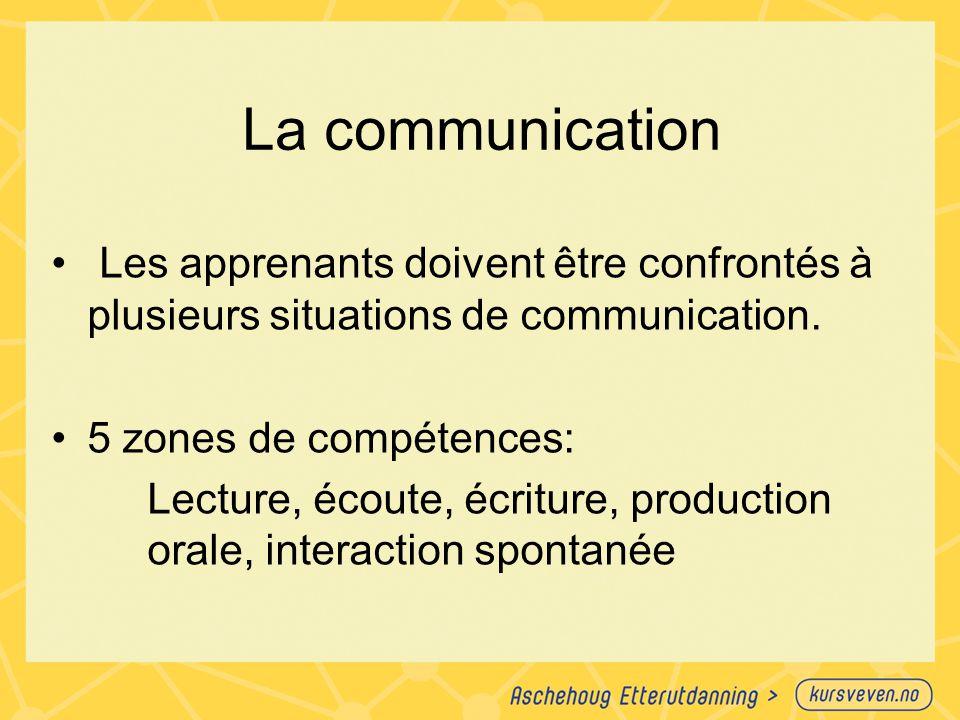 La communication Les apprenants doivent être confrontés à plusieurs situations de communication. 5 zones de compétences: Lecture, écoute, écriture, pr