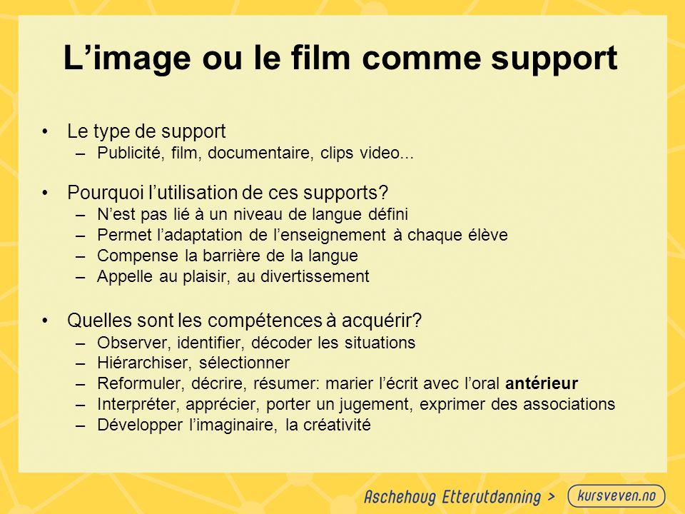 L'image ou le film comme support Le type de support –Publicité, film, documentaire, clips video... Pourquoi l'utilisation de ces supports? –N'est pas