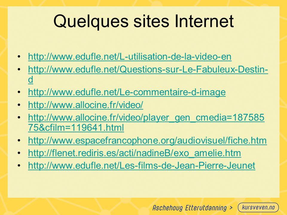 Sites internet http://www.echo- fle.org/COURSES/FichesdeCours/Conversation/Onvaaucin%C3%A9ma/tabid/ 132/Default.aspx - eksempler på å jobbe med film.