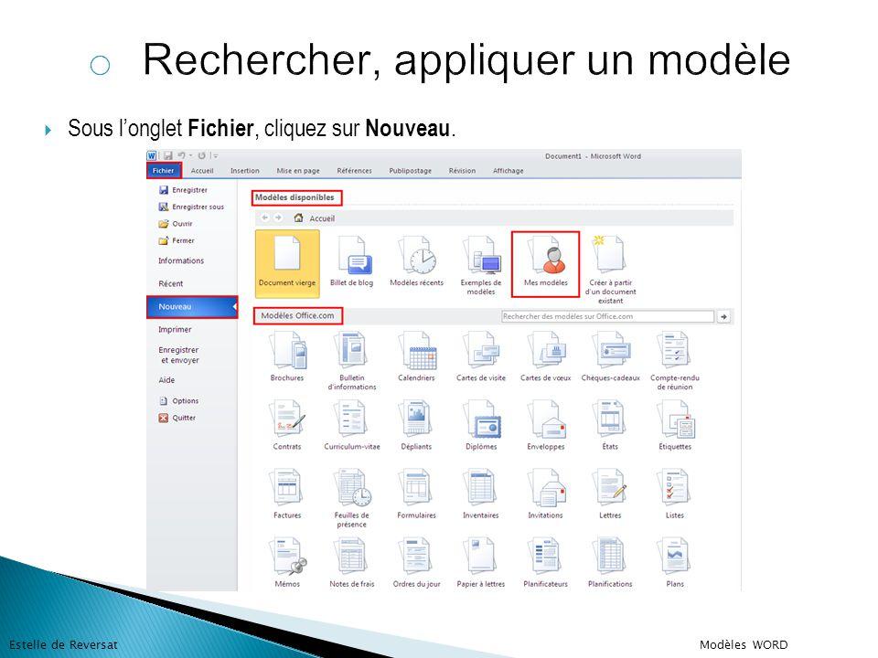  Sous Modèles disponibles, effectuez l'une des opérations suivantes :  Pour utiliser l'un des modèles intégrés, cliquez sur Exemples de modèles, cliquez sur le modèle de votre choix, puis cliquez sur Créer.