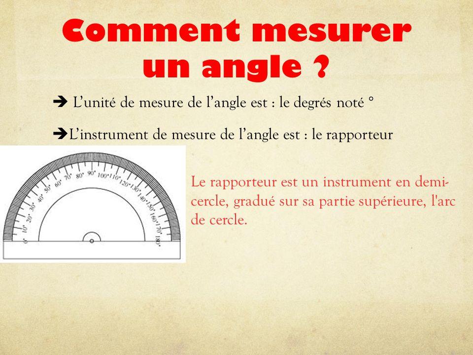 Comment mesurer un angle ?  L'unité de mesure de l'angle est : le degrés noté °  L'instrument de mesure de l'angle est : le rapporteur Le rapporteur