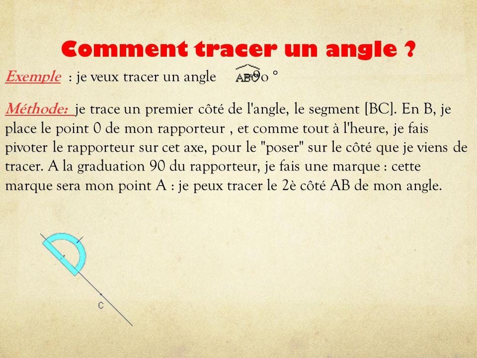 Comment tracer un angle ? Exemple : je veux tracer un angle =9o ° Méthode: je trace un premier côté de l'angle, le segment [BC]. En B, je place le poi