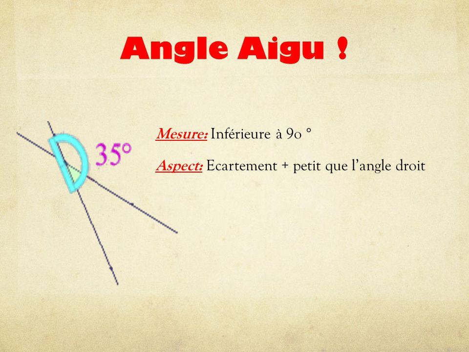 Angle Aigu ! Mesure: Inférieure à 9o ° Aspect: Ecartement + petit que l'angle droit