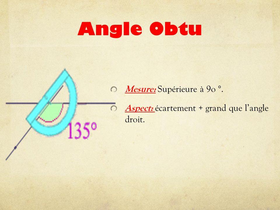 Angle Obtu Mesure: Supérieure à 9o °. Aspect: écartement + grand que l'angle droit.