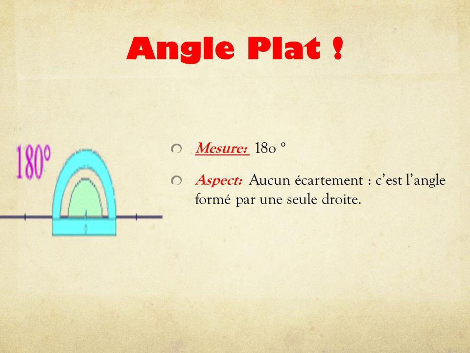 Angle Plat ! Mesure: 18o ° Aspect: Aucun écartement : c'est l'angle formé par une seule droite.