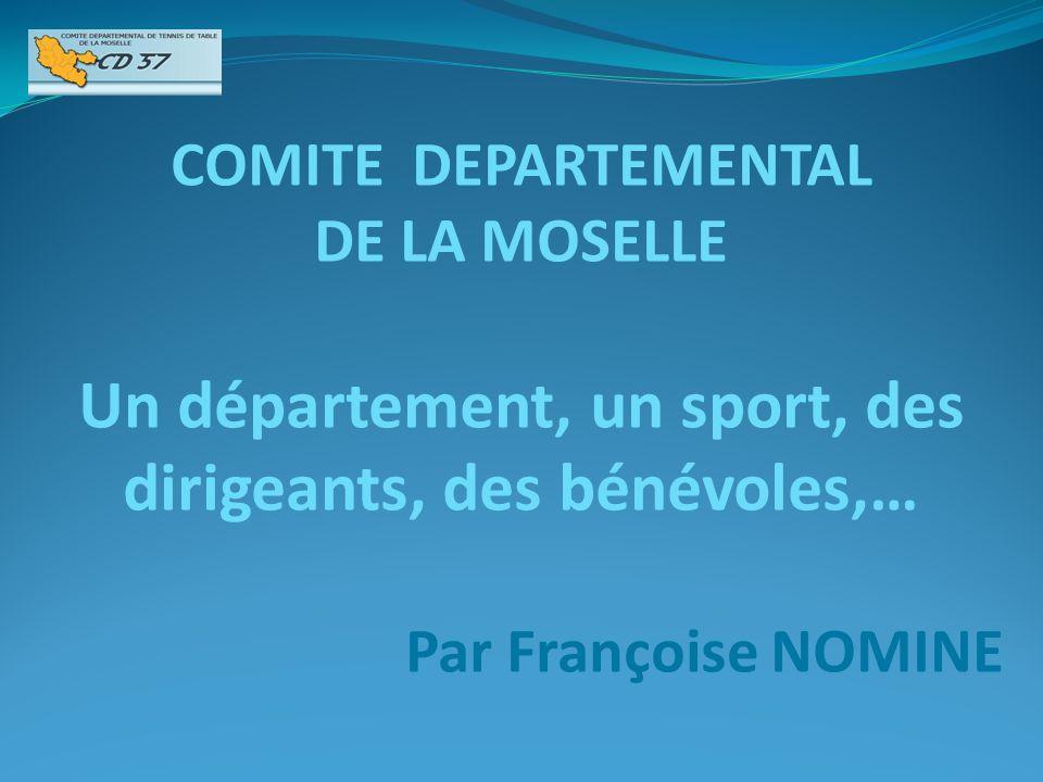 COMITE DEPARTEMENTAL DE LA MOSELLE Un département, un sport, des dirigeants, des bénévoles,… Par Françoise NOMINE