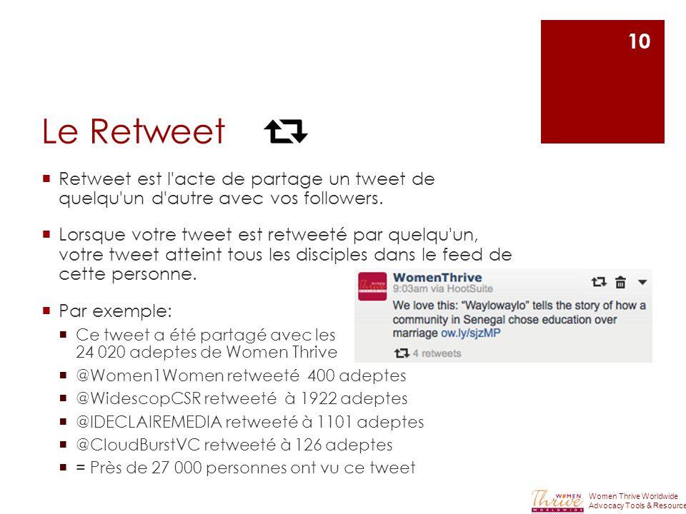Le Retweet  Retweet est l acte de partage un tweet de quelqu un d autre avec vos followers.