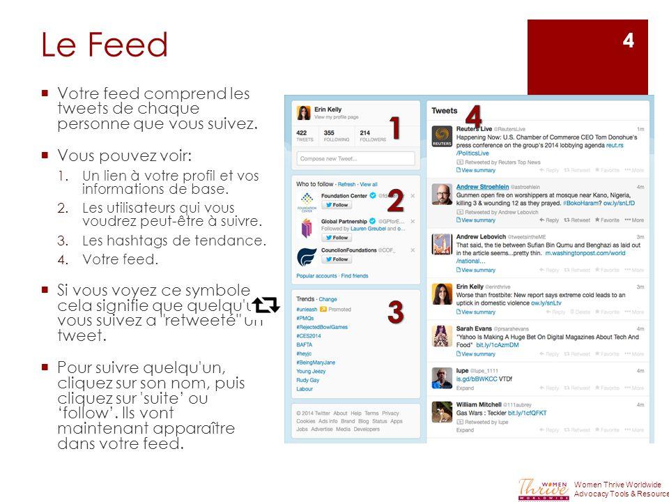 Le Feed  Votre feed comprend les tweets de chaque personne que vous suivez.