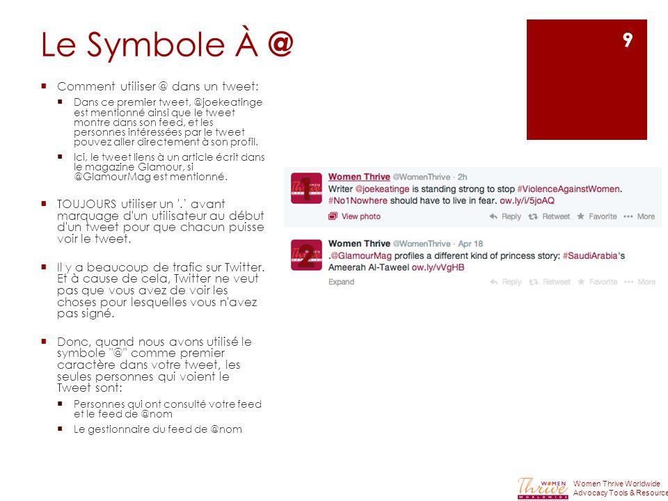 Le Symbole À @  Comment utiliser @ dans un tweet:  Dans ce premier tweet, @joekeatinge est mentionné ainsi que le tweet montre dans son feed, et les personnes intéressées par le tweet pouvez aller directement à son profil.
