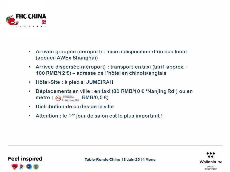 Table-Ronde Chine 18 Juin 2014 Mons Arrivée groupée (aéroport) : mise à disposition d'un bus local (accueil AWEx Shanghai) Arrivée dispersée (aéroport) : transport en taxi (tarif approx.