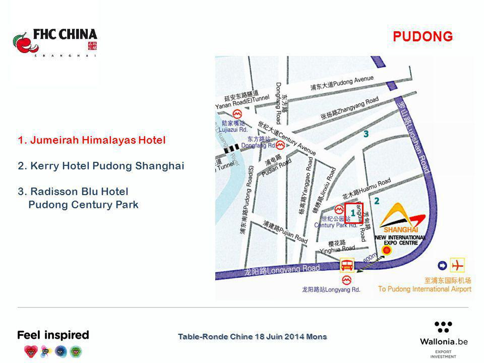 Table-Ronde Chine 18 Juin 2014 Mons PUDONG 1. Jumeirah Himalayas Hotel 2.