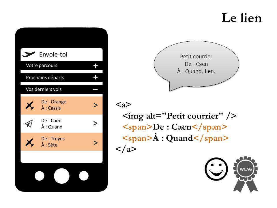 Le lien De : Caen À : Quand WCAG Petit courrier De : Caen À : Quand, lien.
