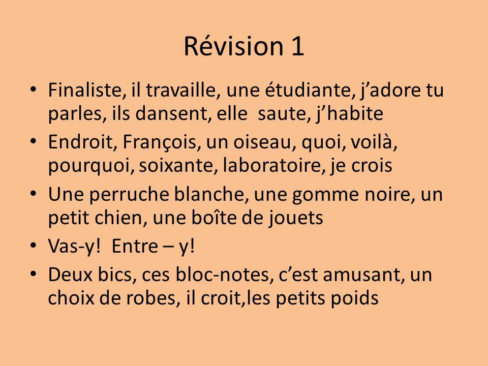 Révision 1 Finaliste, il travaille, une étudiante, j'adore tu parles, ils dansent, elle saute, j'habite Endroit, François, un oiseau, quoi, voilà, pou