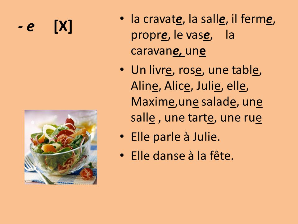 - e [X] la cravate, la salle, il ferme, propre, le vase, la caravane, une Un livre, rose, une table, Aline, Alice, Julie, elle, Maxime,une salade, une