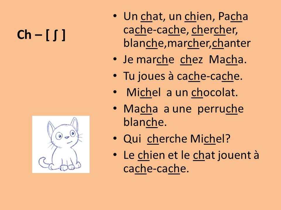 Ch – [ ∫ ] Un chat, un chien, Pacha cache-cache, chercher, blanche,marcher,chanter Je marche chez Macha. Tu joues à cache-cache. Michel a un chocolat.