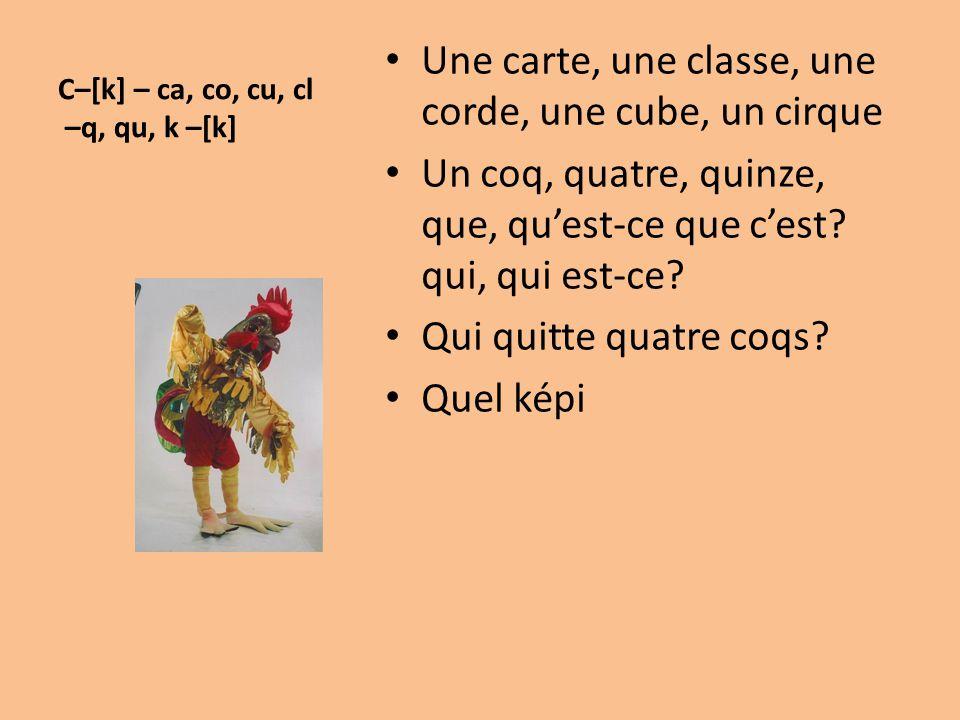 C–[k] – ca, co, cu, cl –q, qu, k –[k] Une carte, une classe, une corde, une cube, un cirque Un coq, quatre, quinze, que, qu'est-ce que c'est? qui, qui