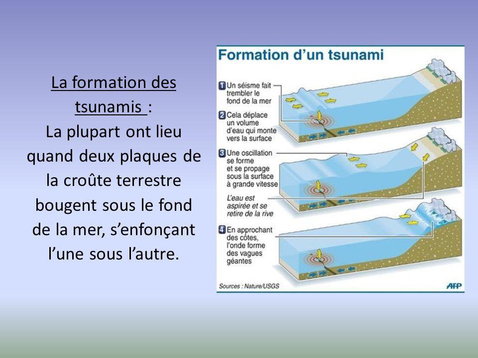 La formation des tsunamis : La plupart ont lieu quand deux plaques de la croûte terrestre bougent sous le fond de la mer, s'enfonçant l'une sous l'aut